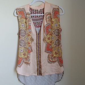 Anthopologie Tiny Mandala Pattern Silk Tank Top